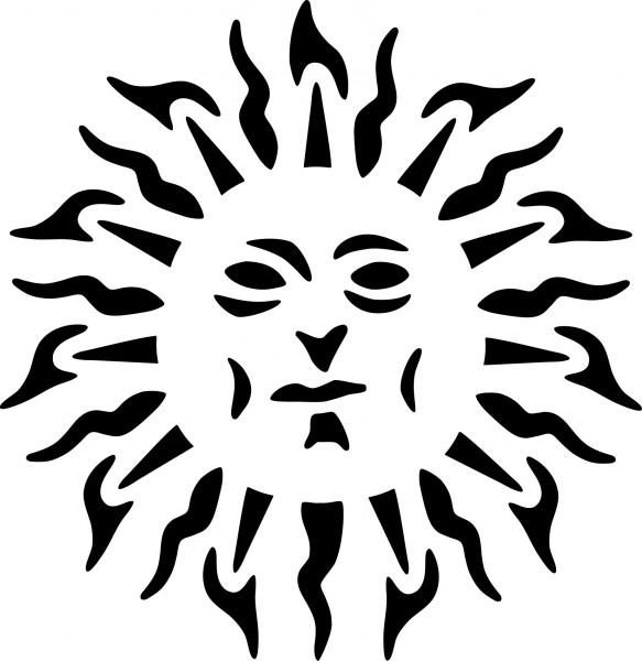 Selbstklebende Schablone für Glitzer-Tattoos oder für Airbrush TRIBAL SUN SP141