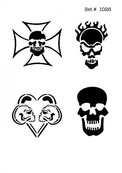 UNLIMITED STENCILS 4 selbstklebende DURA-LAR Airbrush Tattoo-Schablonen D1026