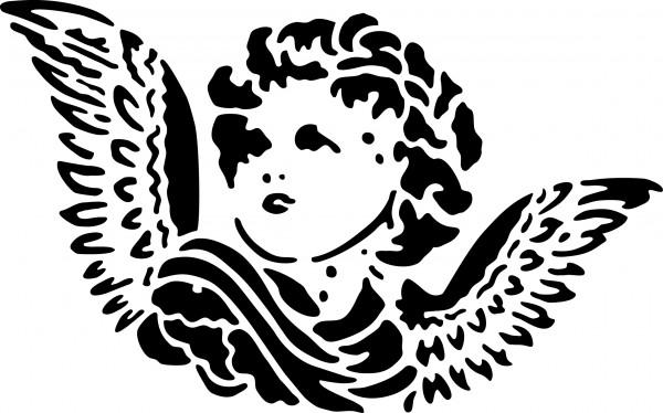 Selbstklebende XL Schablone für Glitzer-Tattoos oder für Airbrush-Tattoo ENGEL, SP104