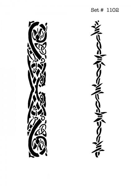 UNLIMITED STENCILS 4 selbstklebende DURA-LAR Airbrush Tattoo-Schablonen D1102