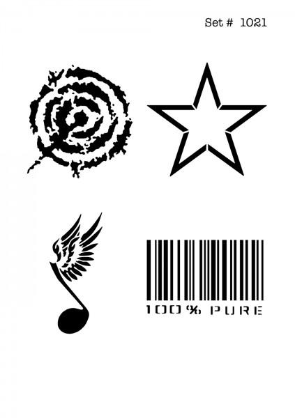 UNLIMITED STENCILS 4 selbstklebende DURA-LAR Airbrush Tattoo-Schablonen D1021