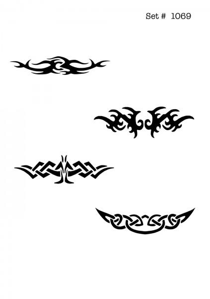 UNLIMITED STENCILS 4 selbstklebende DURA-LAR Airbrush Tattoo-Schablonen D1069