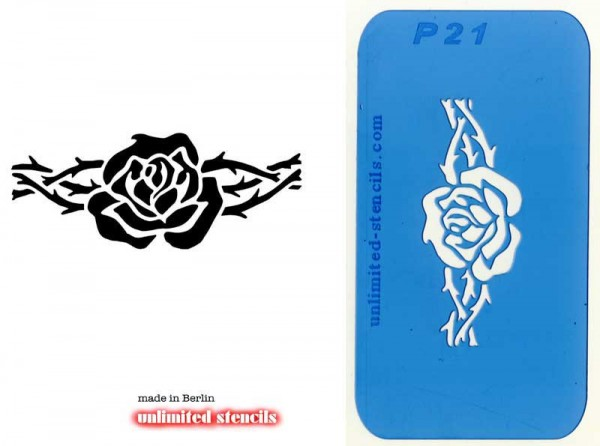 Mylar Airbrush Tattoo / Bodypainting Schablone ROSE MP21