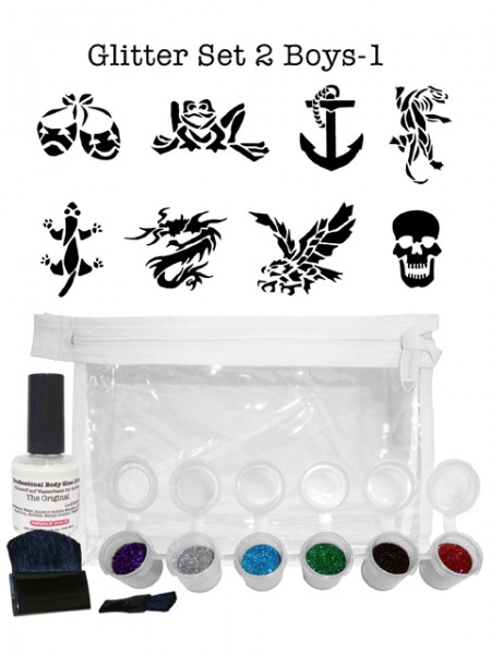 "Glitzer-Tattoo-Set ""for boys"" G2B1"