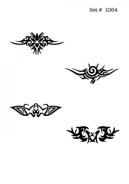 UNLIMITED STENCILS 4 selbstklebende DURA-LAR Airbrush Tattoo-Schablonen D1064