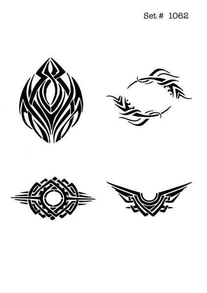 UNLIMITED STENCILS 4 selbstklebende DURA-LAR Airbrush Tattoo-Schablonen D1062