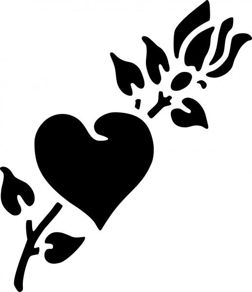 Selbstklebende Schablone für Glitzer-Tattoos oder für Airbrush HERZ/ROSE, SP121