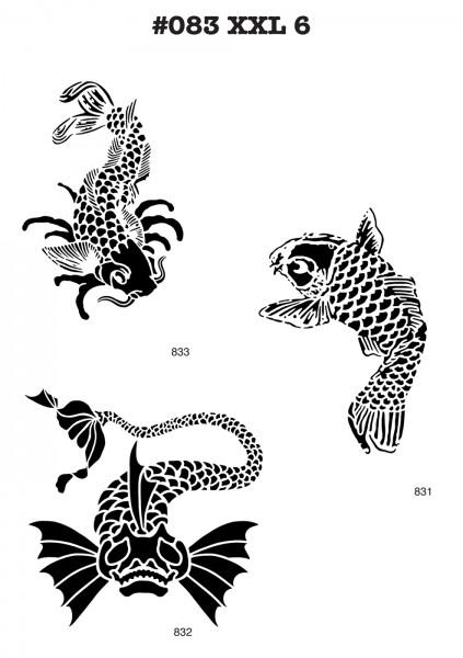 6 Airbrush-Tattoo-Schablonen MYLAR #083
