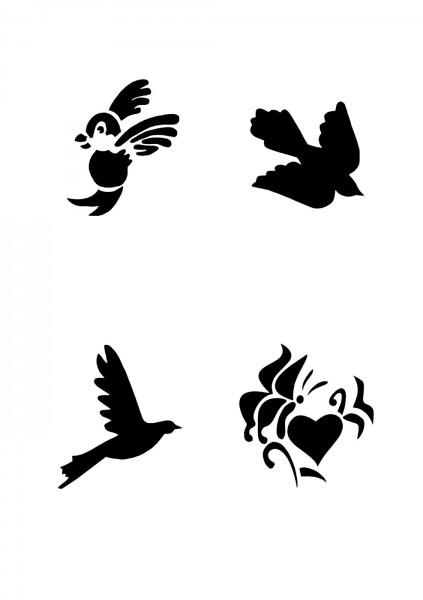 Glitzer Tattoo Schablonen Set für Kinder K10G