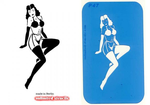 Mylar Airbrush Tattoo / Bodypainting Schablone XL PIN UP GIRL MP47