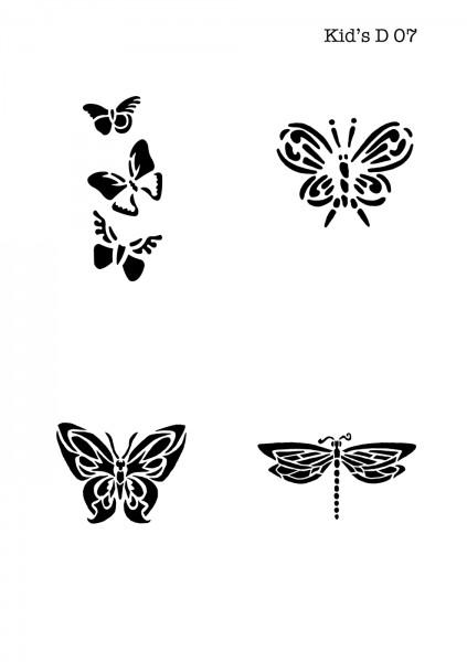 Kinder Airbrush Tattoo Schablone SCHMETTERLINGE