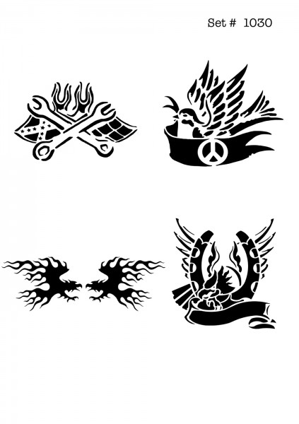 UNLIMITED STENCILS 4 selbstklebende DURA-LAR Airbrush Tattoo-Schablonen D1030