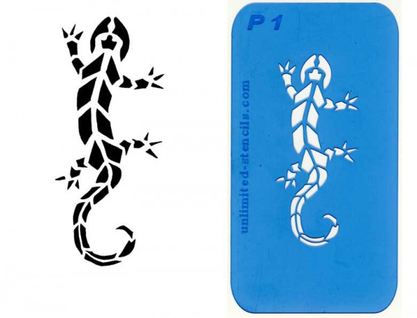 Mylar Airbrush Tattoo Schablone GECKO MP01