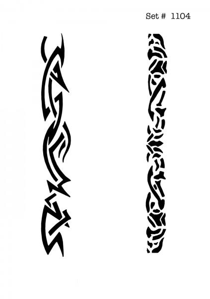 UNLIMITED STENCILS 4 selbstklebende DURA-LAR Airbrush Tattoo-Schablonen D1104