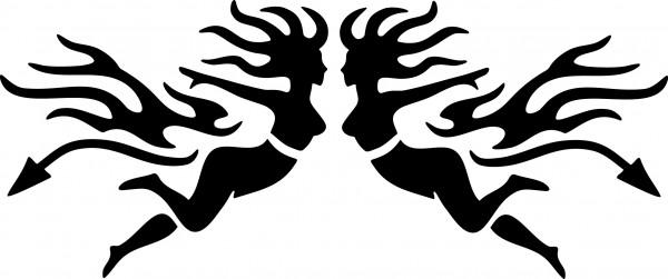 Selbstklebende Schablone für Glitzer-Tattoos oder für Airbrush-Tattoo TRIBAL GIRLS SP142