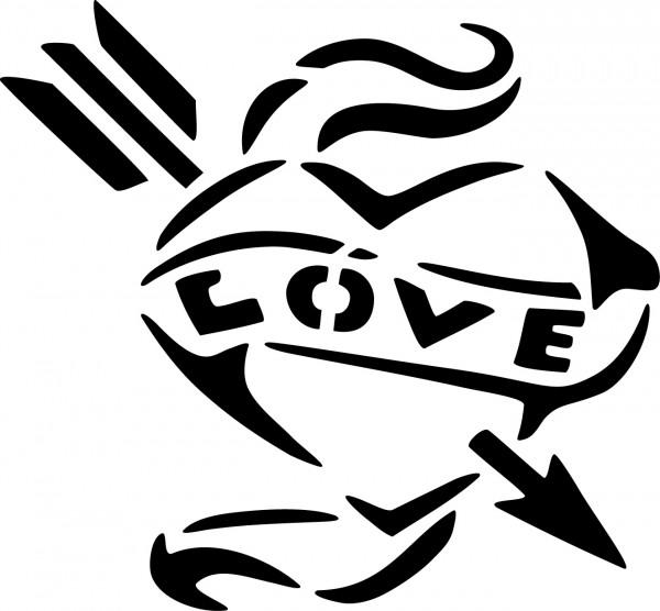 Selbstklebende Schablone für Glitzer-Tattoos oder für Airbrush-Tattoo IN LOVE , SP 119