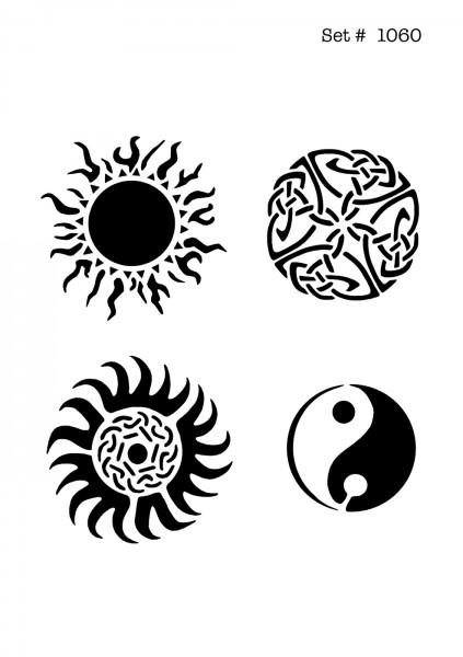 UNLIMITED STENCILS 4 selbstklebende DURA-LAR Airbrush Tattoo-Schablonen D1060