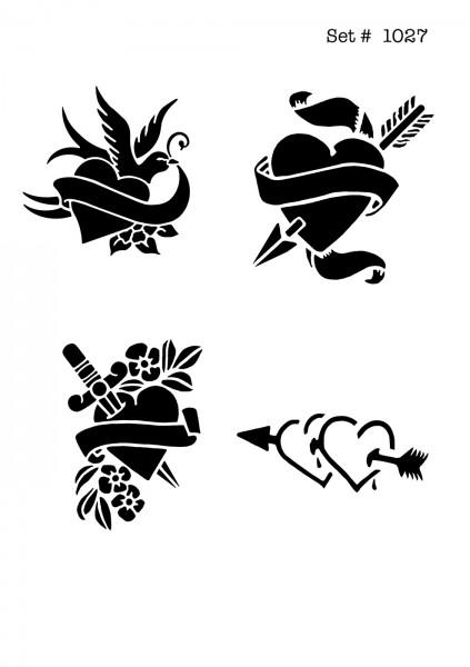 UNLIMITED STENCILS 4 selbstklebende DURA-LAR Airbrush Tattoo-Schablonen D1027
