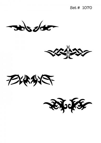 UNLIMITED STENCILS 4 selbstklebende DURA-LAR Airbrush Tattoo-Schablonen D1070