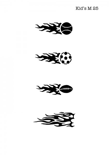 Kinder Airbrush Tattoo Schablonen Mylar FUSSBALL, FLAMMEN