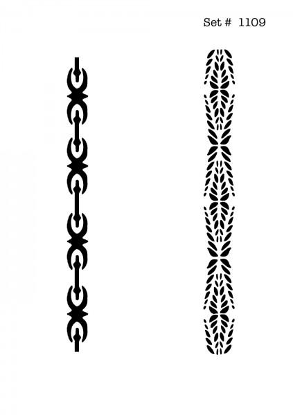UNLIMITED STENCILS 4 selbstklebende DURA-LAR Airbrush Tattoo-Schablonen D1109