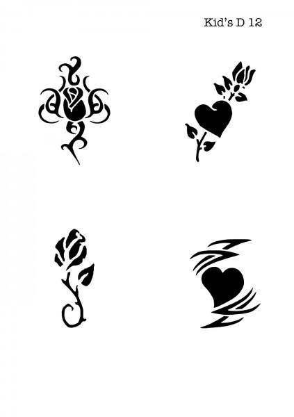 Kinder Airbrush Tattoo Schablone ROSE, HERZ, TRIBAL