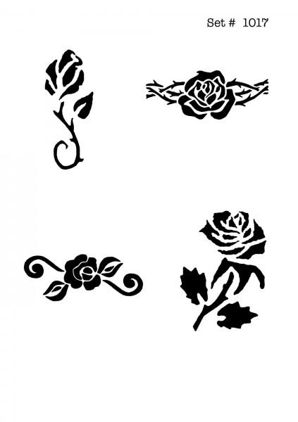 UNLIMITED STENCILS 4 selbstklebende DURA-LAR Airbrush Tattoo-Schablonen D1017