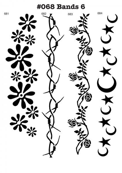 6 Airbrush-Tattoo-Schablonen MYLAR #068
