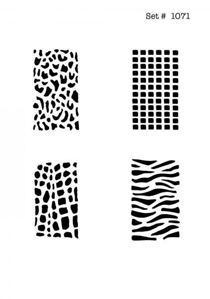UNLIMITED STENCILS 4 selbstklebende DURA-LAR Airbrush Tattoo-Schablonen D1071