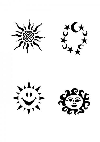 Glitzer Tattoo Schablonen Set für Kinder K16G