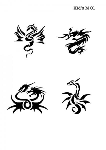 Kinder Airbrush Tattoo Schablonen Mylar DRACHEN
