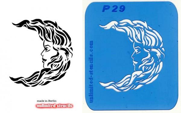 Mylar Airbrush Tattoo / Bodypainting Schablone MOND GESICHT MP29