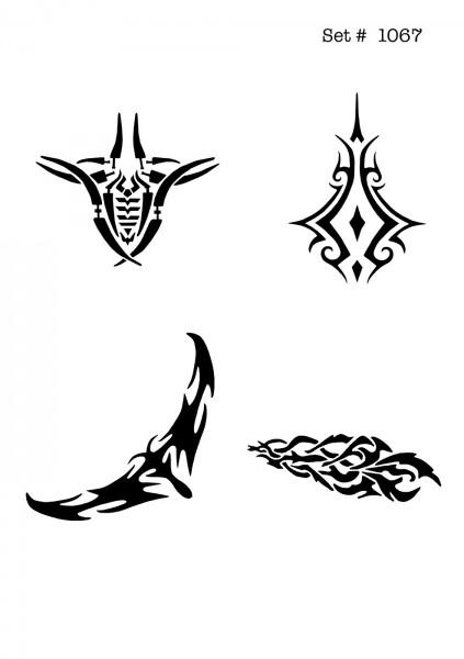 UNLIMITED STENCILS 4 selbstklebende DURA-LAR Airbrush Tattoo-Schablonen D1067