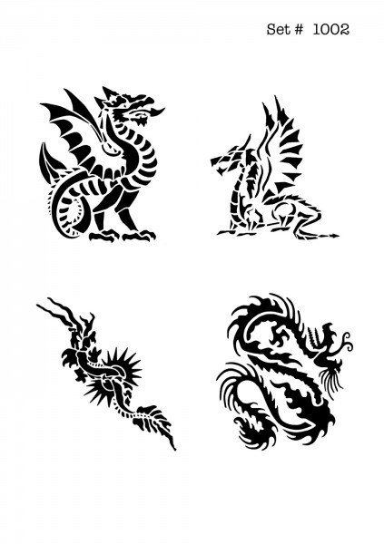 UNLIMITED STENCILS 4 selbstklebende DURA-LAR Airbrush Tattoo-Schablonen D1002