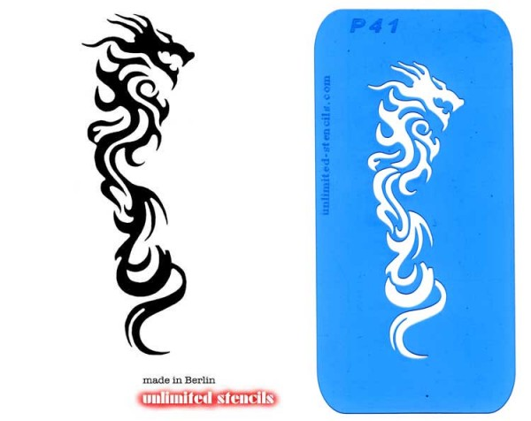 Mylar Airbrush Tattoo / Bodypainting Schablone XL DRACHE MP41