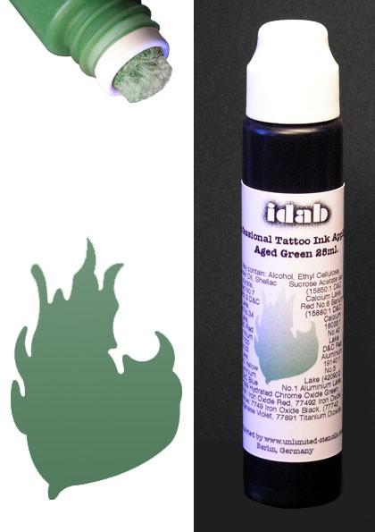 Farbapplikator für temporäre Tattoos idab GRÜN aged green
