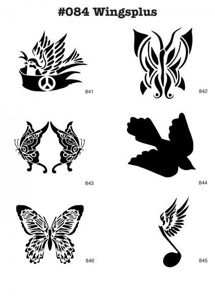 6 Airbrush-Tattoo-Schablonen MYLAR #084