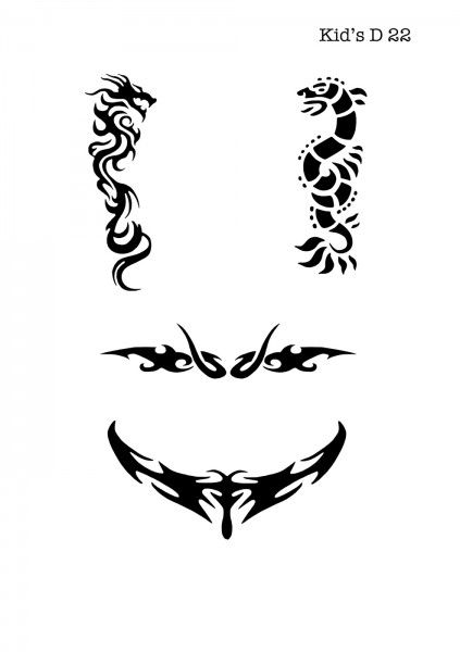 Kinder Airbrush Tattoo Schablone DRACHEN, TRIBAL