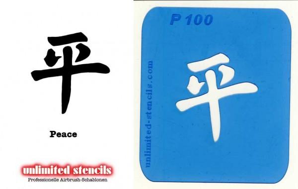 Mylar Airbrush Tattoo / Bodypainting Schablone CHIN. ZEICHEN PEACE MP100