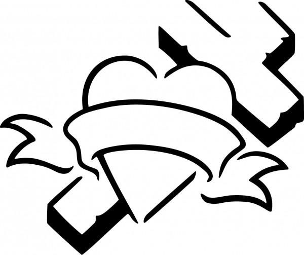 Selbstklebende Schablone für Glitzer-Tattoos oder für Airbrush-Tattoo- HERZ/KREUZ, SP116