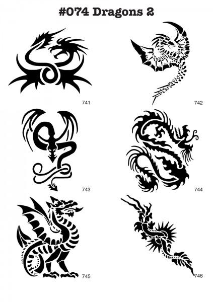 6 Airbrush-Tattoo-Schablonen MYLAR #074
