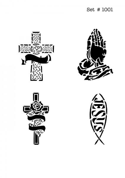 UNLIMITED STENCILS 4 selbstklebende DURA-LAR Airbrush Tattoo-Schablonen D1001