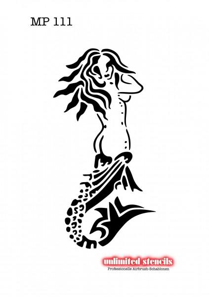Mylar Airbrush Tattoo / Bodypainting XL Schablone NIXE, MEERJUNGFRAU MP111