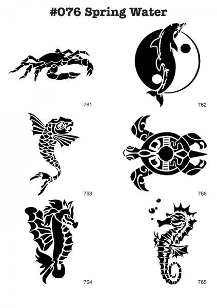 6 Airbrush-Tattoo-Schablonen MYLAR #076