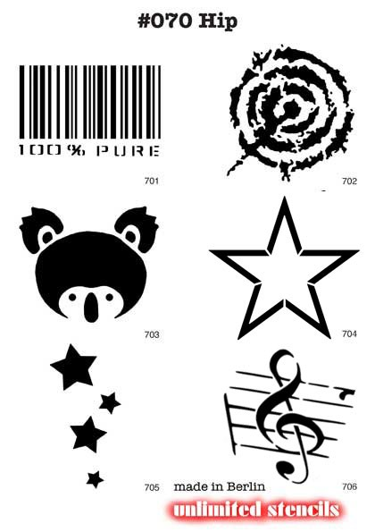 6 Airbrush-Tattoo-Schablonen MYLAR #070