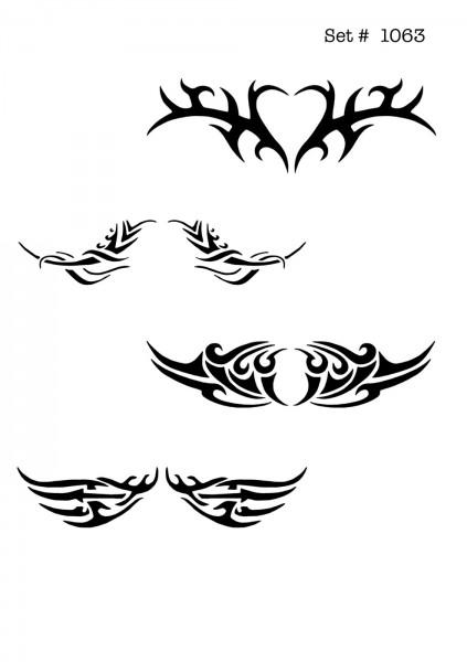 UNLIMITED STENCILS 4 selbstklebende DURA-LAR Airbrush Tattoo-Schablonen D1063
