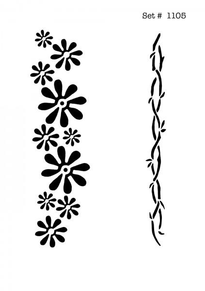 UNLIMITED STENCILS 4 selbstklebende DURA-LAR Airbrush Tattoo-Schablonen D1105