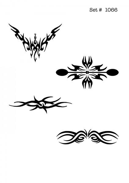 UNLIMITED STENCILS 4 selbstklebende DURA-LAR Airbrush Tattoo-Schablonen D1066