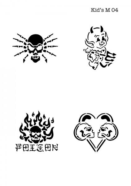 Kinder Airbrush Tattoo Schablonen Mylar TEUFEL, HERZ, TOTENKOPF