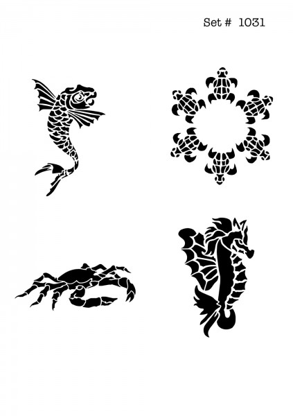 UNLIMITED STENCILS 4 selbstklebende DURA-LAR Airbrush Tattoo-Schablonen D1031